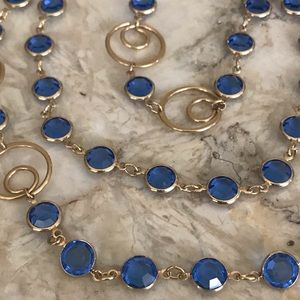 Jewelry - Gold tone & Blue Crystals Long Necklace